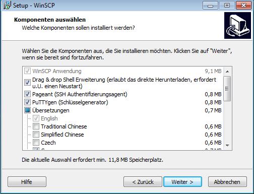 Das benutzerdefinierte Setup erlaubt das Installieren von Pageant (PuTTY Agent) und PuTTYgen.