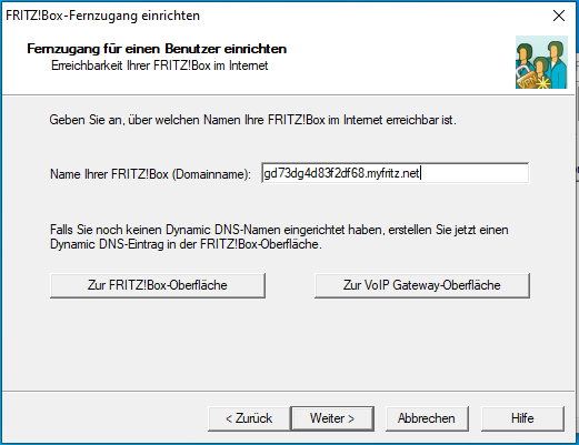 Enter or create a domain for Fitzbox-DynDNS
