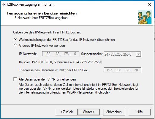 Specify the Fritzbox IP network
