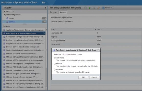Der Dienst für Auto-Deploy lässt sich im vSphere Web Client starten