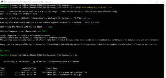 ISO-Abbild für ESXi 6.5 aus dem Online-Depot von VMware erzeugen mit dem ESXi-Customizer-PS.