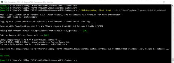Erstellen eines ISO aus einem Offline-Bundle mit dem ESXi-Customizer-PS