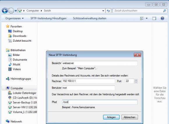 Mit der Schaltfläche 'Anlegen' wird die neue Verbindung als Laufwerk gespeichert und kann später jederzeit aufgerufen werden.