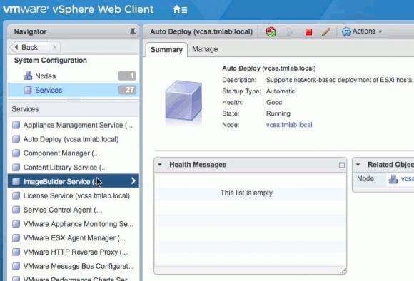 Die in den Web Client integrierte GUI für Image-Builder. Sie ist nur verfügbar über das vCSA 6.5.