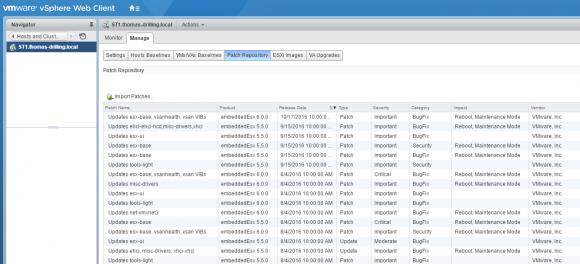 Die meisten VIB-Pakete stammen von VMware selbst, wie das Patch-Repository des Update-Managers zeigt.