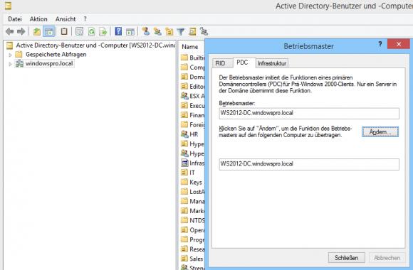 PDC für eine Domäne ermitteln in AD-Benutzer und -Computer