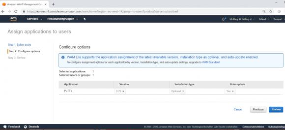 Optionen für die bereitgestellte Anwendung konfigurieren
