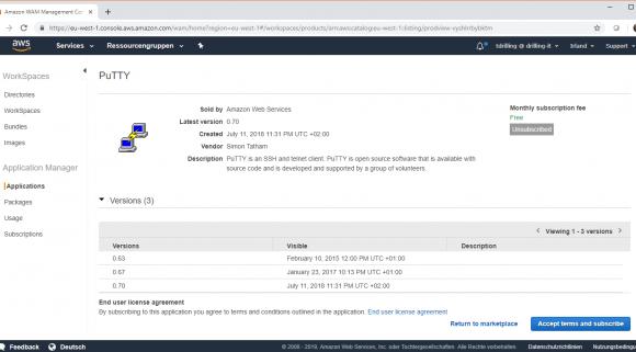 Auf dem AWS Marketplace finden sich auch kostenlose Programme wie Putty.