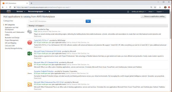 Auswahl von Anwendungen aus dem AWS Marketplace