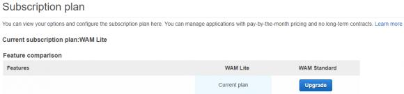 Upgrade vom kostenlosen Lite- auf das Standard-Abo von WAM