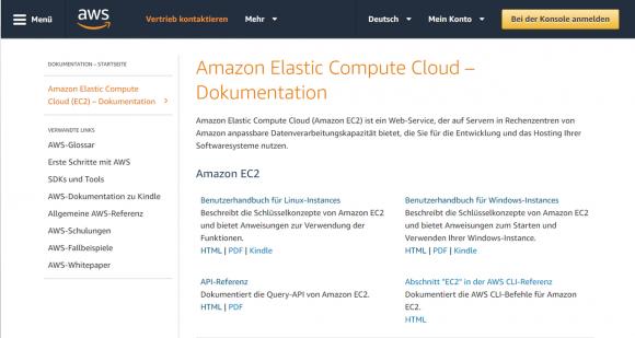 Online-Dokumentation für EC2