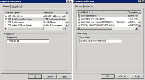 DHCP-Optionen 66 und 67 für Auto-Deploy konfigurieren