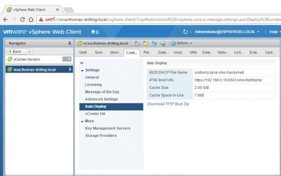 Konfigurationsdatei für TFTP über den vSphere Client herunterladen.
