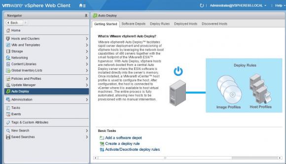 Übersichtsseite der neuen Auto-Deploy-GUI in vSphere 6.5