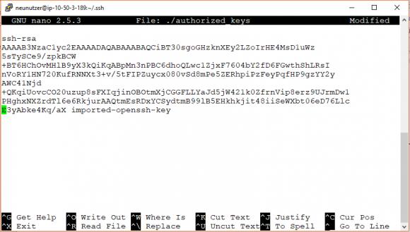 Öffentlichen Schlüssel in die Datei authorized_keys eintragen