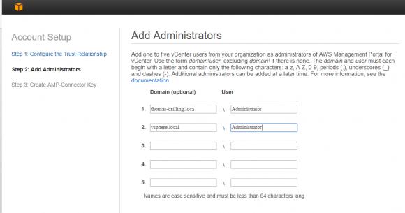 Bei der Inbetriebnahme des AWS Management Portal for vCenter hilft ein Assistent.