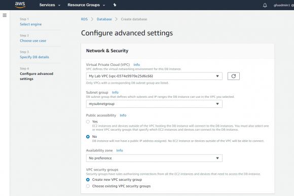 Sicherheitseinstellungen für die DB-Instanz konfigurieren