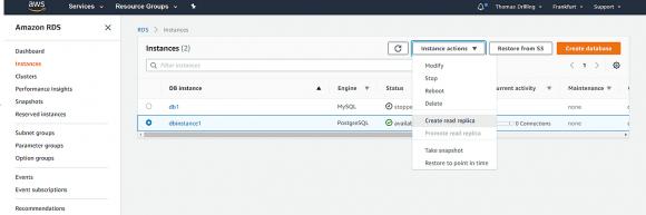 Read Replica für Datenbank in AWS RDS anlegen