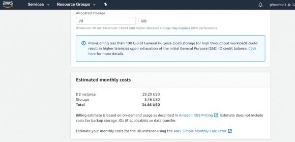 Bei der Konfiguration der RDS-Instanz zeigt AWS bereits die voraussichtlichen Kosten an.