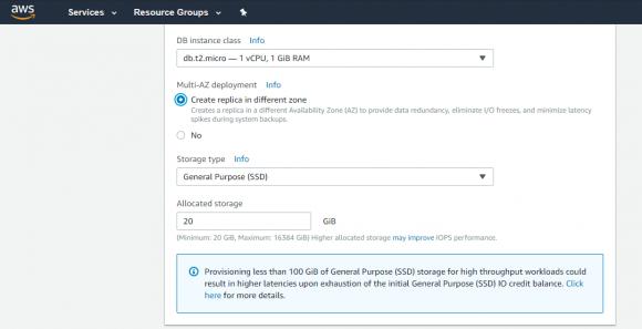 Die Option Multi-AZ hilft, die Verfügbarkeit der Datenbank zu erhöhen und geplante Downtime zu reduzieren.