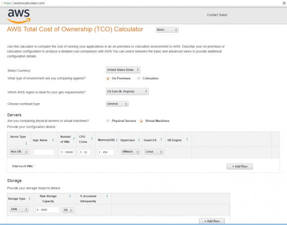 Kosten zwischen einer On-Prem-Infrastruktur und AWS vergleichen mit dem TCO Calculator