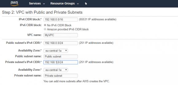 Eingabe des VPC-Namens und des Adressbereichs für die Subnets