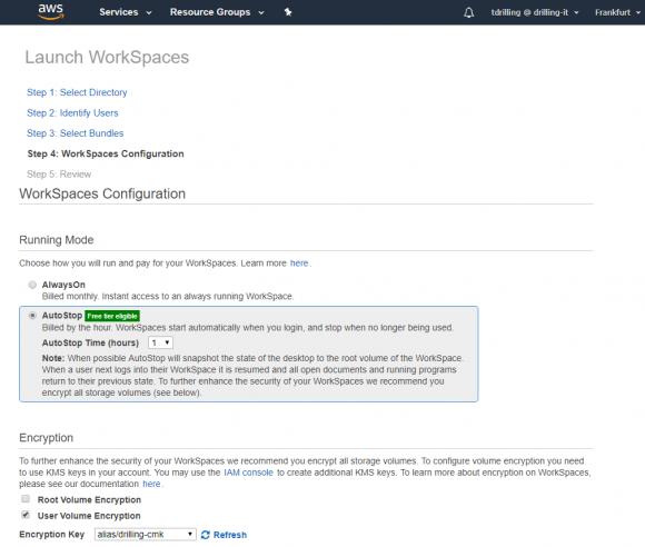 Abrechnungsmodus und Verschlüsselung für WorkSpaces konfigurieren