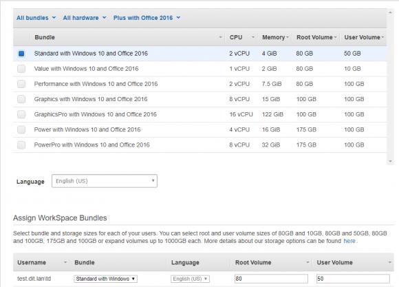 WorkSpaces-Bundle an Benutzer zuweisen
