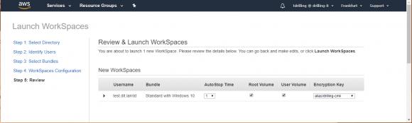 Zum Abschluss des Assistenten startet man den neuen AWS WorkSpace