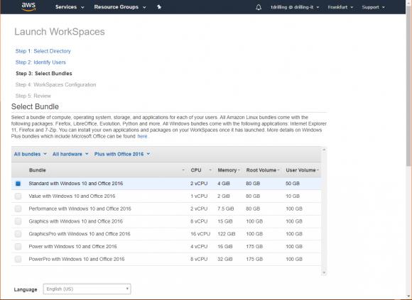 Auswahl der Bundles für die Hard- und Software-Ausstattung der virtuellen Desktops.
