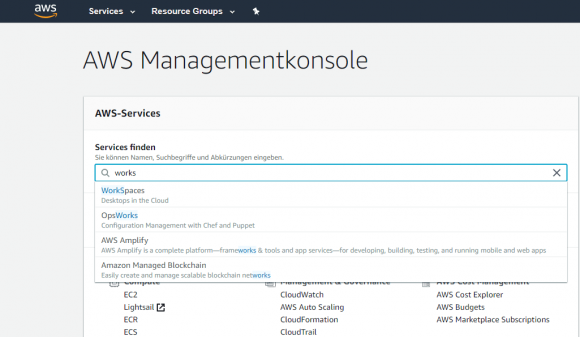 UI zum Einrichten von WorkSpaces aus der AWS-Managementkonsole starten.