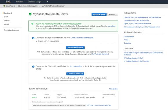 Nach dem erfolgreichen Erstellen des Automate-Servers zeigt das OpsWorks-Dashboard einen Link zum Chef-Dashboard an.