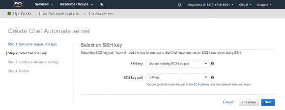 Auswahl eines SSH-Schlüssels