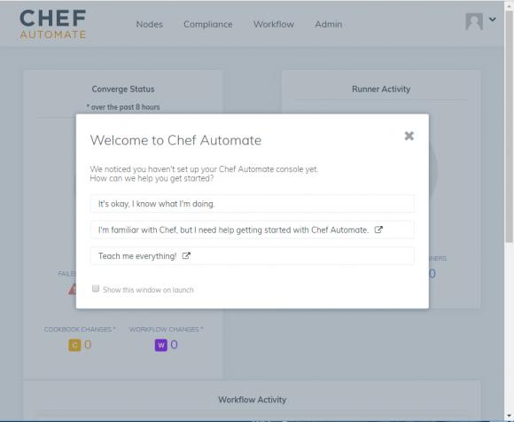 Willkommen-Bildschirm nach der ersten erfolgreichen Ameldung an Chef Automate