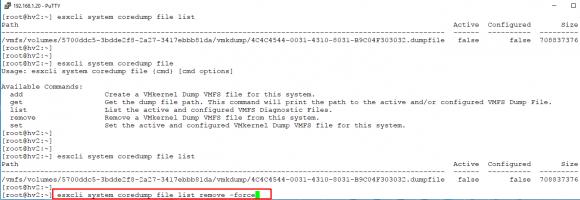 Anzeigen und Löschen von Coredump-Files mit Hilfe von esxcli