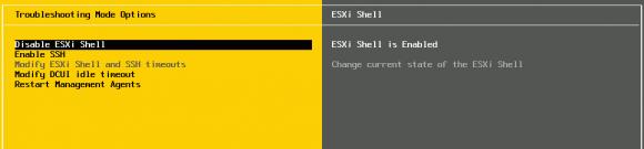 Die ESXi-Shell muss erst über die Troubleshooting-Options aktiviert werden.