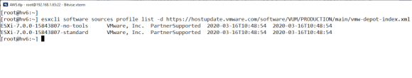 Upgrade auf ESXi 7.0 über das VMware Online-Depot