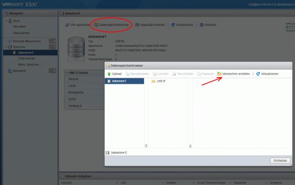 Verzeichnis anlegen mit dem Datenspeicher-Browser im Host-Client
