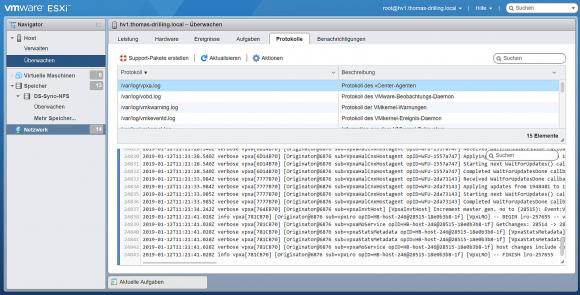 ESXi-Protokolle im Log-Browser des Host-Clients betrachten