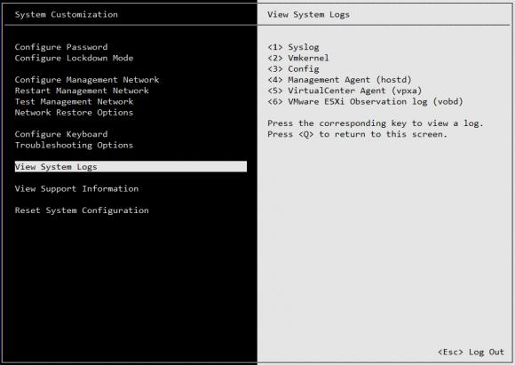 ESXi-Logs auf der Server-Konsole ansehen
