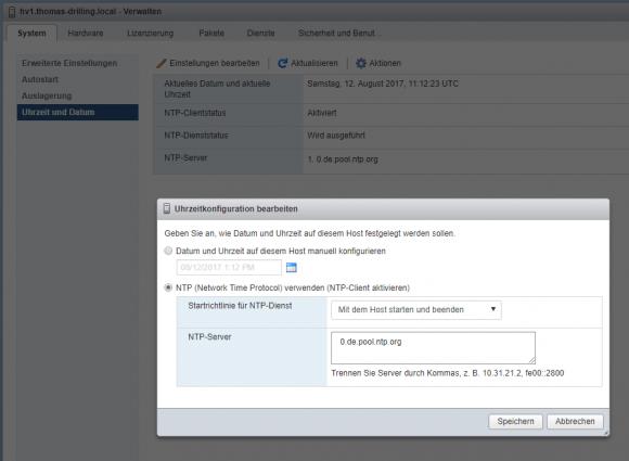 NTP-Server für ESXi über den Host-Client festlegen