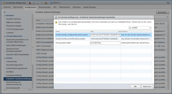Ändern der Scratch-Partition im vSphere Web Client