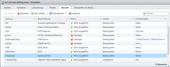 Syslog-Dienst von ESXi verwalten im Host-Client