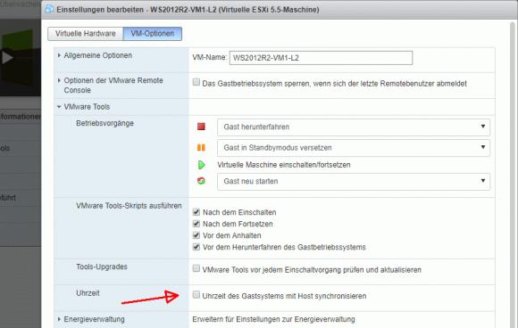 Wenn die VMware Tools die Zeit eines Gastsystems nach dem Host richten, dann können Konflikte mit anderen Zeitquellen entstehen.
