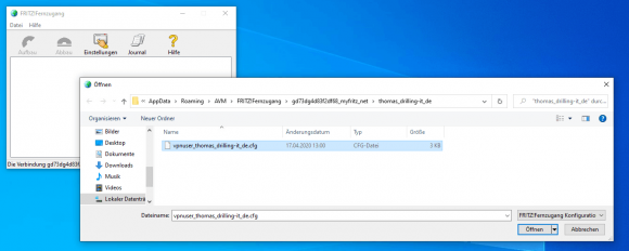 Import VPN configuration into the client software