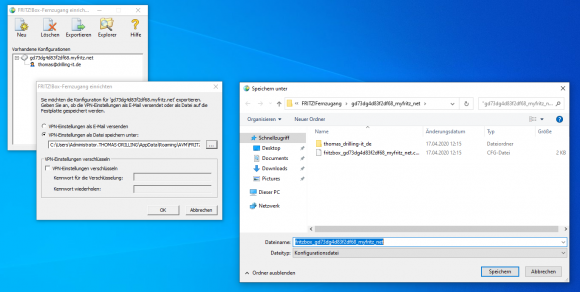 Export VPN configuration file