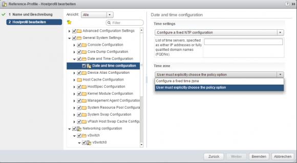 Zeit-Server für ESXi über Host-Profil konfigurieren