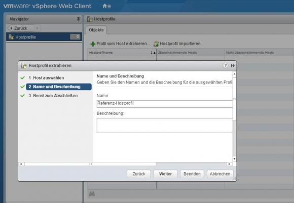 Im ersten Schritt wählt man einen Referenz-Host, von dem man ein Profil ableitet.