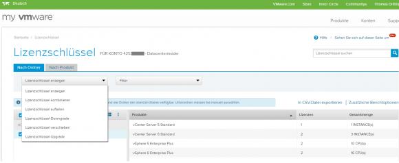 Lizenzen verwalten im Portal My VMware