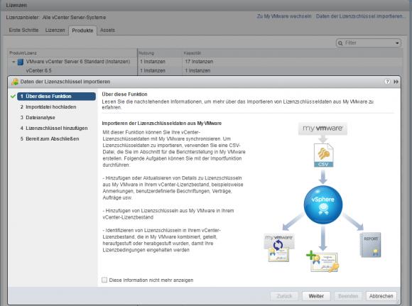 Lizenzen aus My VMware lassen sich als CSV-Dateien importieren.
